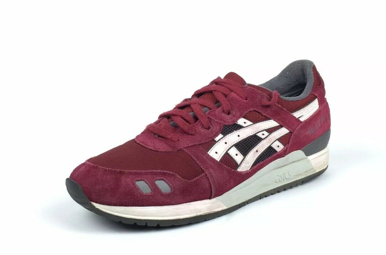Asics Tiger Gel-Lyte III Men's Suede Burgundy White Running shoes Size 13    130