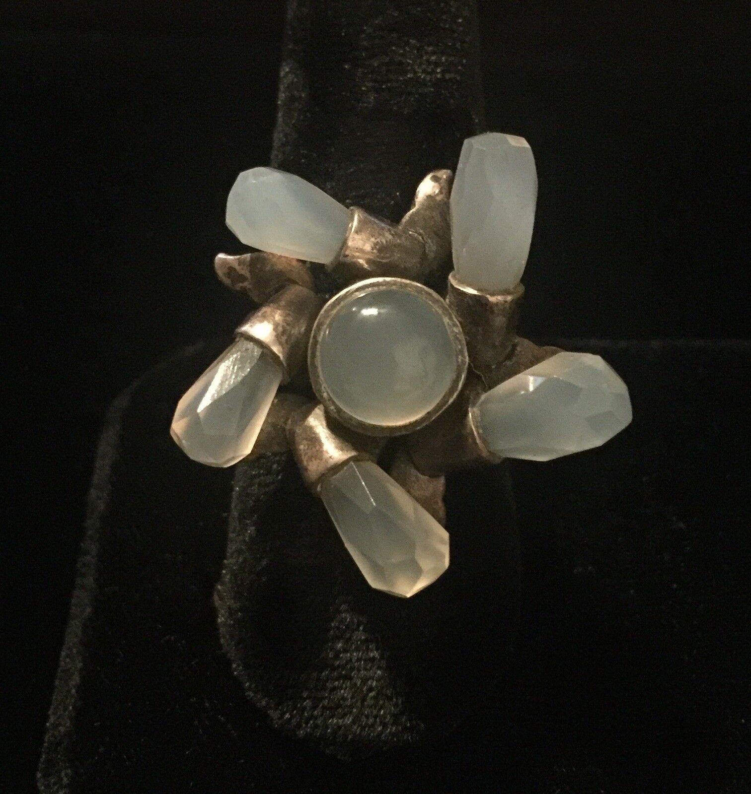 Very Special Vintage Artisan Moonstone Flower Ring