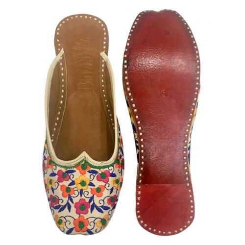 UK Women/'s Leather Flat Sandals Ballerina Shoes Back Open Punjabi Jutti SS270