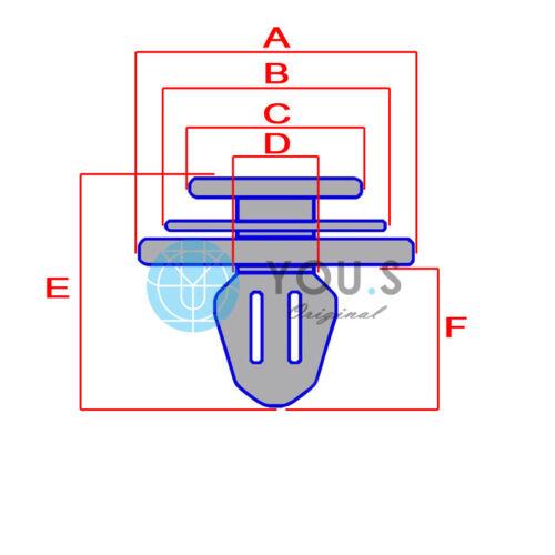 10 x YOU.S Verkleidung Clips Loch Ø 11 mm für MINI Countryman R60 Paceman R61