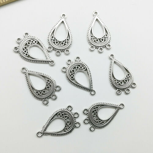 30//50pcs water drop antique silver charms pendants jewelry DIY finding 27*15mm