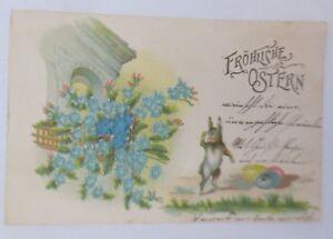 Ostern-Hase-Ostereier-Vergissmeinnicht-1902-Praegekarte-39836