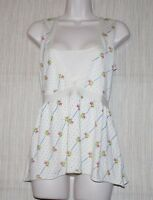 Cashmere Fifth Avenue Silk Cotton Women Top White Floral Size: 6 (s)