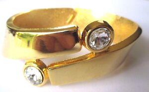 Charmant Bracelet Rigide Bijou Vintage Relief Solitaire Cristal Diamant Couleur Or 537
