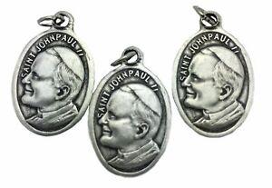 Catholic-Medal-Charm-Pendant-Lot-3-Silver-Tone-Pope-John-Paul-II-Pray-for-Us