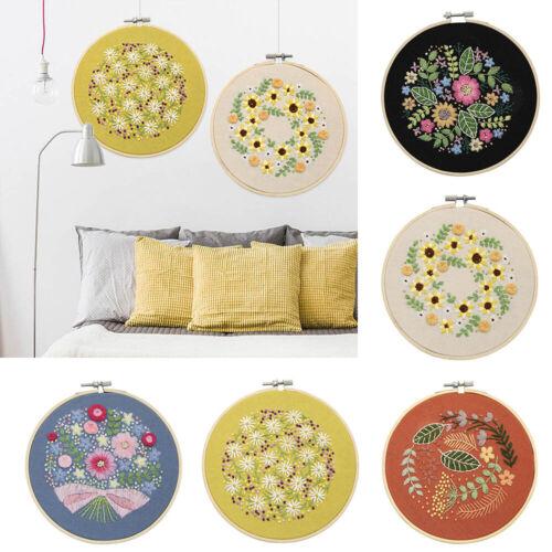 DIY Embroidery Kits Flower Pattern Cross Stitch Needlework W// Hoop For Beginner