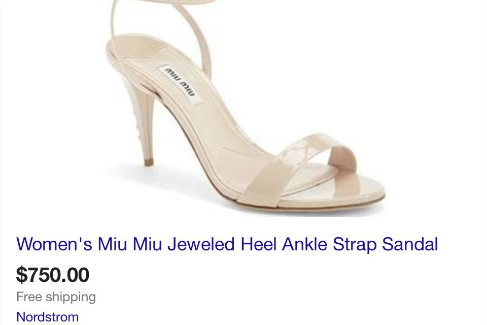 Mui Mui Jeweled Heel Ankle Strap Sandal Almond color Size Size color 9.5 Retail $750 72653e