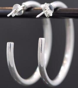 Image Is Loading Sterling Silver 925 Handmade Medium Hoop Earring W