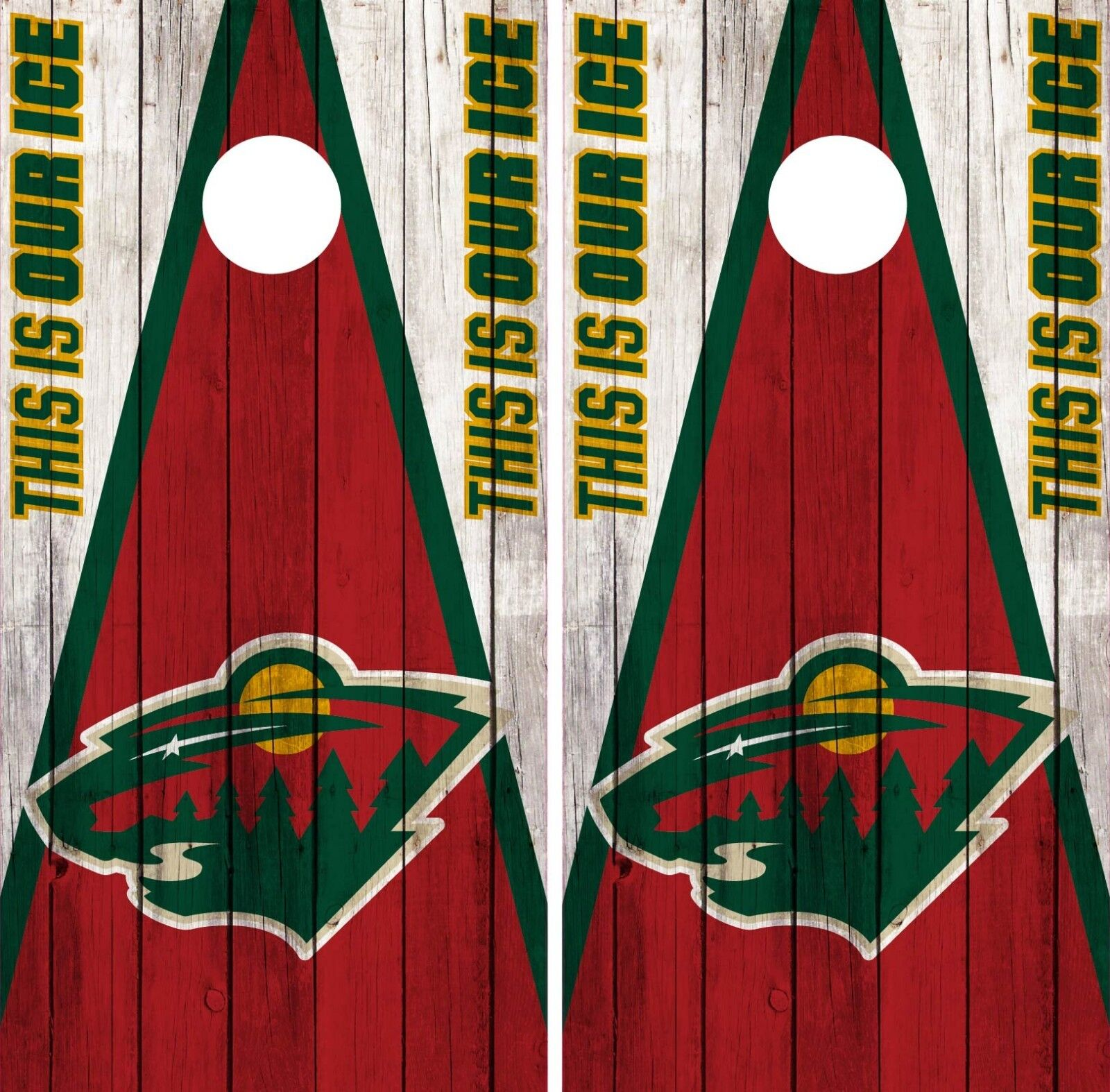 Minnesota Wild Cornhole Wrap NHL Vintage  Game Board Skin Set Vinyl Decal CO346  order now