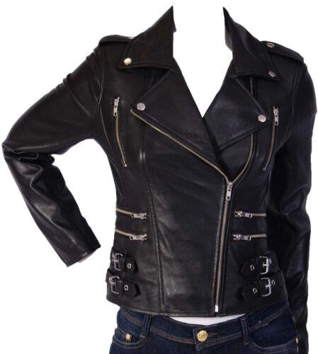 damesjas Vintage zwarte Leren Biker lamsvacht Motorfiets damesjas Echt WI9DHYE2