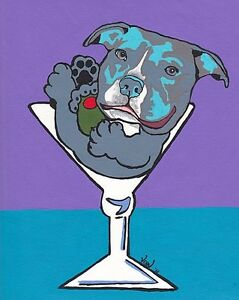 Blue PIT BULL Martini 8x10 Signed Dog Pop Art Print of Original Painting by VERN