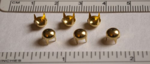 """Gold Plated 3//16/"""" Domed 4-Pronged Round Nailheads or Spot Studs Set-of-6"""