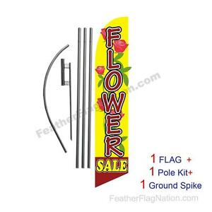 Flower Sale Advertising Feather Banner Swooper Flag Sign with Flag Pole Kit and Ground Stake