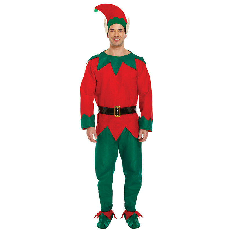 Men's ELF Costume- Christmas Fancy Dress- Red/Green with hat