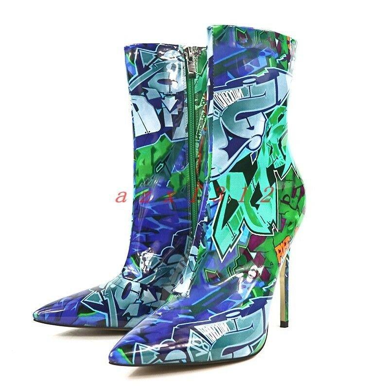 Women Pointy Toe High Stiletto Heel Printed Floral Zip Ankle Boot shoes Stylish