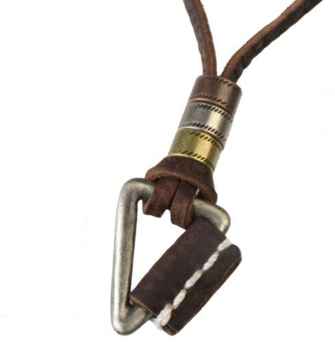 N106 caballeros collar de estilo surfista de cuero colgante cadena Triangle Leather Necklace Men