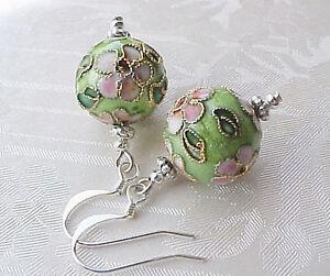 Cloisonne-Earrings-Art-to-Wear-Lime-Green-Pink-Flower-Boho-Gypsy-Spring