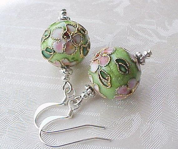 Cloisonne Earrings Art to Wear Lime Green Pink Flower Boho Gypsy Spring
