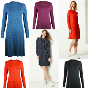 M-amp-S-Marks-and-Spencer-Womens-Jersey-Swing-Long-Sleeve-Tunic-Dress-Blue-Red-Black