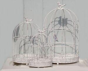 deko vogelk fig mit vogel in 3 gr en metall wei antik finish shabby vintage. Black Bedroom Furniture Sets. Home Design Ideas