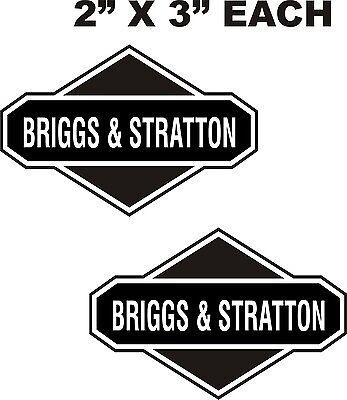 """2-BRIGGS STRATTON VINYL DECALS-STICKERS  BLACK ON  WHITE  2/"""" X 3/"""" EACH"""