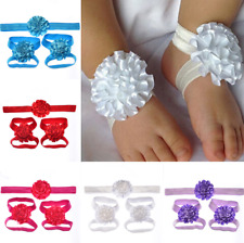 Colorful Foot Flower Barefoot Sandals Headband Set Infants Girl Baby Ornate