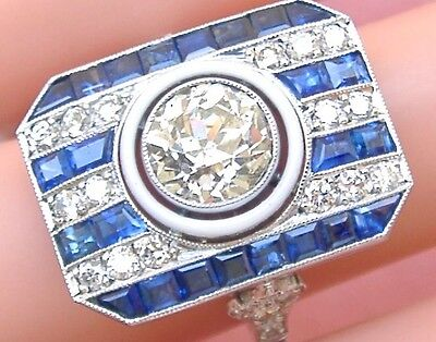 ANTIQUE ART DECO 2.07ct OLD EURO DIAMOND SAPPHIRE PLATINUM COCKTAIL RING c1930