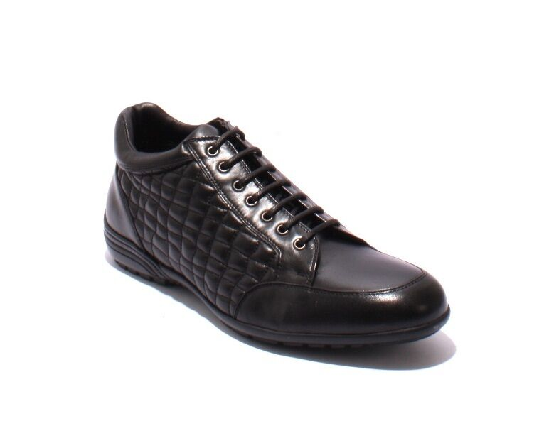 GoodMan 42255 Black Stitched Quilted Leather Lace-Up Zip-Up Shoes 42 / US 9