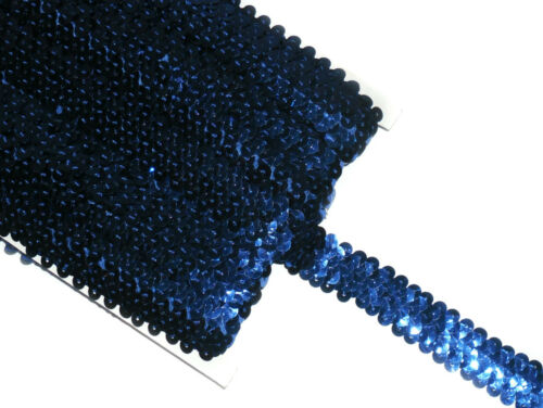 STUNNING 2 ROW ELASTIC STRETCH SEQUIN TRIM 22MM VARIOUS COLOURS SOLD BTM