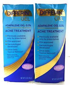 2 Pack Differin Adapalene Gel 0 1 Acne Treatment 1 6oz Exp 08 21