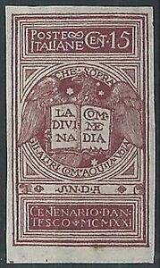 1921-REGNO-DANTE-15-CENT-VARIETa-NON-DENTELLATO-MNH-T100