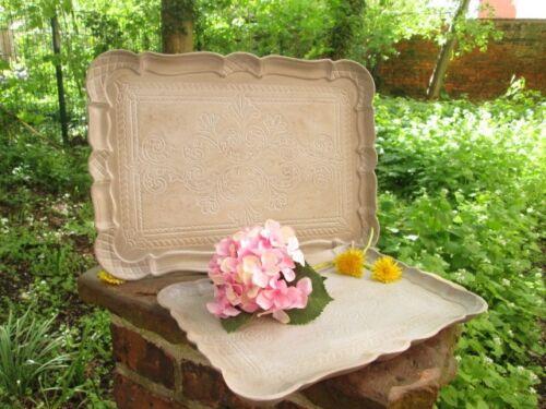 Chic Antique Tablett Sand grau Ornamente Shabby Vintage Landhaus 2 Größen