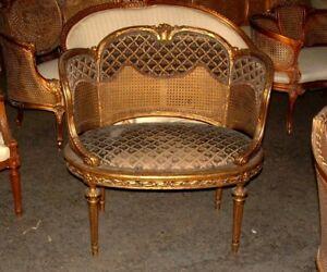 19th C French Louis Xvi Cane Corbeille Settee Chair Ebay