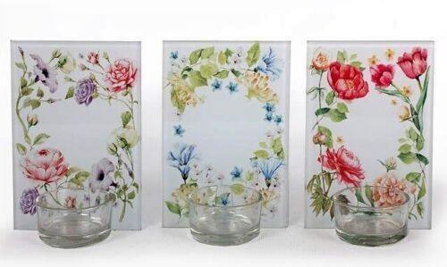 12 x 8 cm-Choisissez Montant requis Lot de 3-FLORAL verre T Light Holders