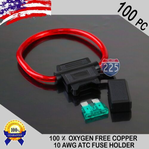 40A 1A 100 Pack 10 Gauge ATC In-Line Blade Fuse Holder 100/% OFC Copper Wire