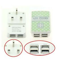 DUAL USB 4 PORT POWER ADAPTER WALL CHARGER FOR IPAD IPHONE 6 SAMSUNG HTC UK PLUG