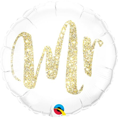 "Mr Gold Glitter Sparkle 18/"" Party Foil Balloon Decoration Wedding Love Qualatex"