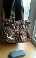 Kathy Van Zeeland Purse Faux Suede Leopard Skin Shoulder Bag Brown & Black EUC
