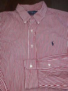 Mens-RALPH-LAUREN-POLO-Button-Down-Shirt-White-Red-Size-XL