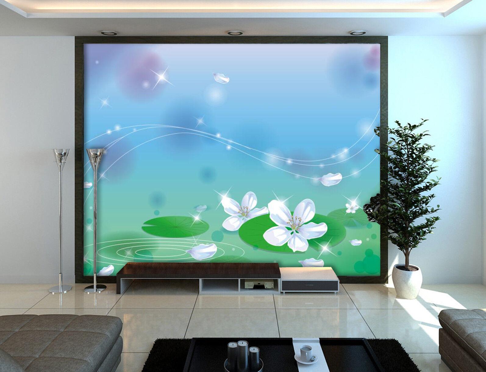 3D Stars Water Lily 7 Wall Paper Murals Wall Print Wall Wallpaper Mural AU Carly