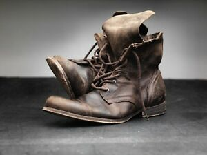 All-Saints-Cropped-Military-Boots-45-uk11-us12-brown-leather-Bi
