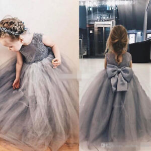 990729dc8ef 2019 New Dark Grey Baby Gown Flower Girl Dresses Tutus Skirt For ...