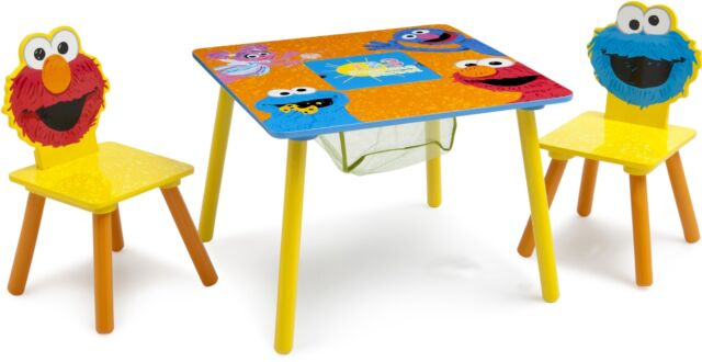 Groovy Kids Play Table Set Chairs With Storage Elmo Cookie Monster Furniture Theyellowbook Wood Chair Design Ideas Theyellowbookinfo