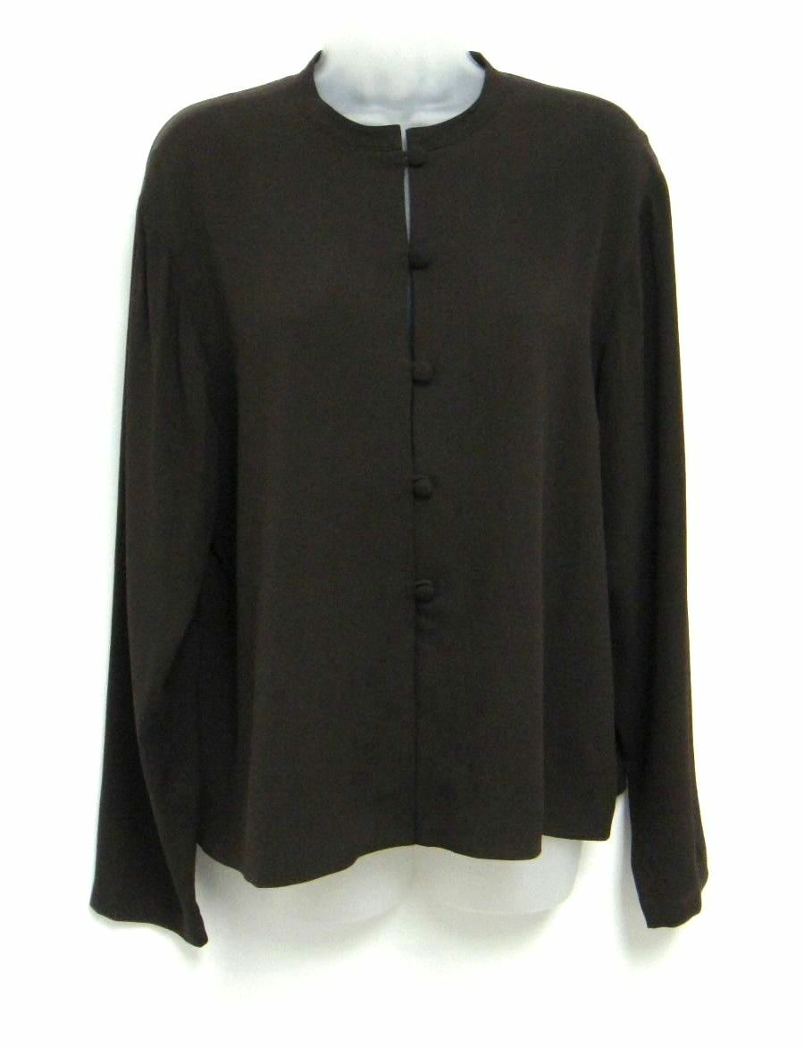 Eileen Fisher 100% Silk Dark Brown Button Down Long Sleeve Shirt Size M