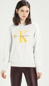 Heather Sweater Klein Calvin Ladies Yellow Xl Pullover Top Jumper Designer Logo qT7BBwI