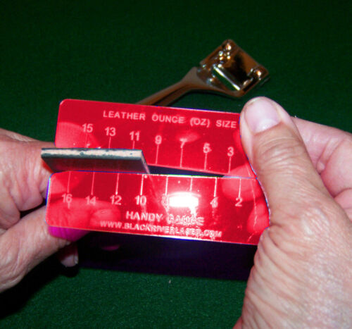 FLUORESCENT RED EASY TO USE HANDY LEATHER GAUGE VERY HANDY! HARD TO LOSE
