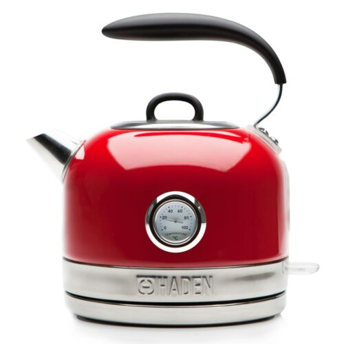 Haden Jersey Red Retro Traditional Kettle 1.5L Cordless Stainless Steel 3000W