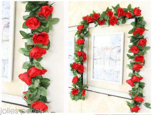 7ft Artificial Silk Rose Flower Ivy Vine Leaf Garland Wedding Party Decor 34
