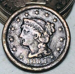 1853 Large Cent Matron Braided Hair 1C High Grade Details  US Copper Coin CC6959