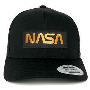 6b94e287fc9 Details about FLEXFIT NASA Worm Gold Text Embroidered Iron on Patch  Snapback Mesh Trucker Cap